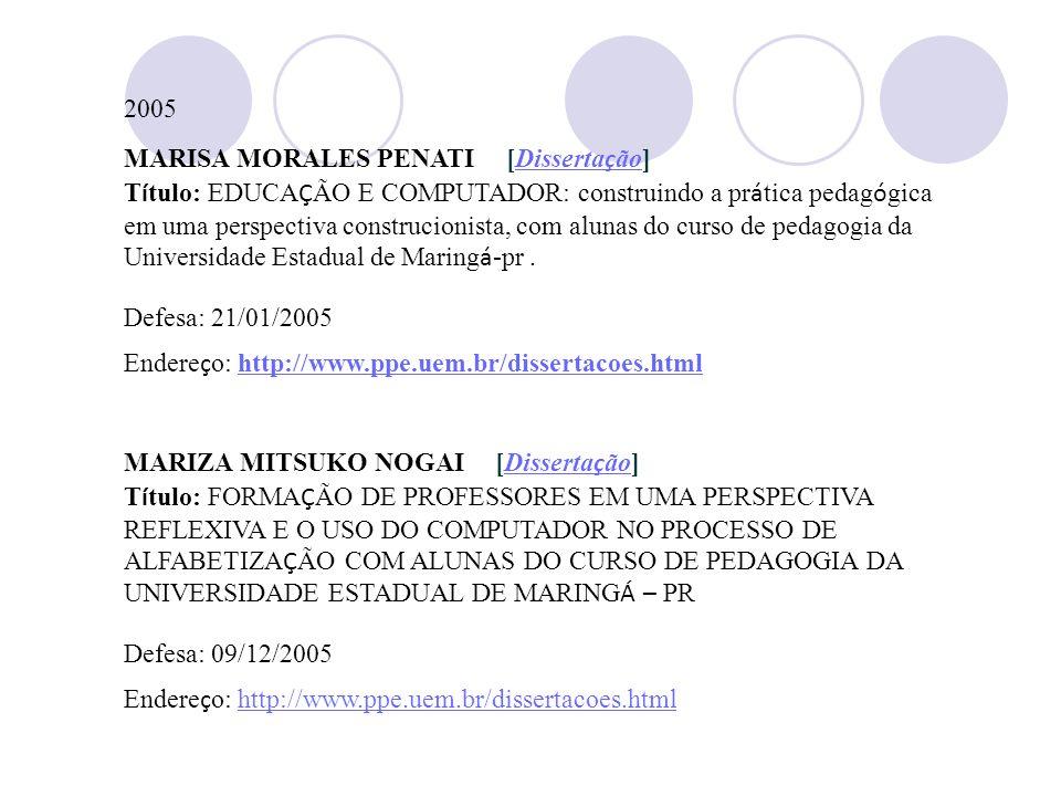 2005MARISA MORALES PENATI [Dissertação]